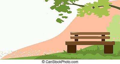 nyár, alatt, bírói szék, fa, háttér
