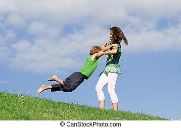 nyár, anya, szabadban, young gyermekek, játék