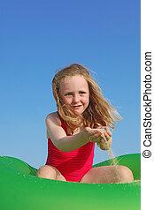 nyár, boldog, játék, szünidő, gyermek