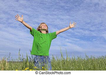 nyár, boldog, outstretched fegyver, gyermek