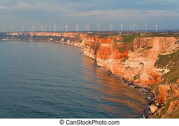nyár, bolgár, erő, fekete, sea., generators, tengerpart, felteker