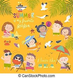 nyár, childs, activities., külső, ünnep, tengerpart