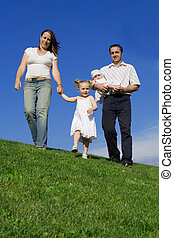 nyár, család, egészséges, gyalogló, szabadban, boldog