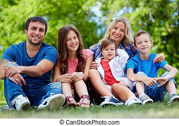 nyár, család portré