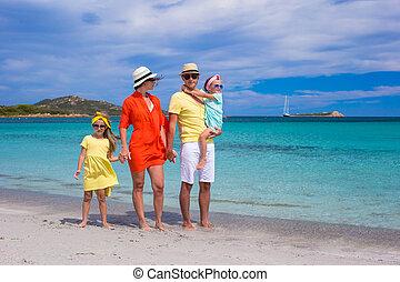 nyár, család szünidő, négy, közben, boldog