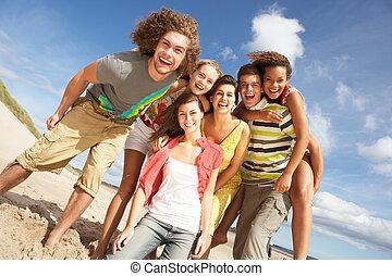 nyár, csoport, barátok, móka, tengerpart, birtoklás