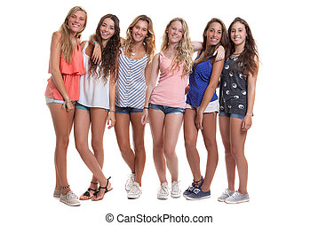 nyár, csoport, egészséges, tizenéves, mosolygós, kicserzett