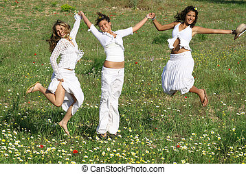 nyár, csoport, eredet, fiatal, ugrás, nők, vagy, boldog