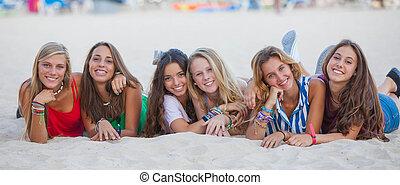 nyár, csoport, faj, kevert, tizenéves kor, boldog