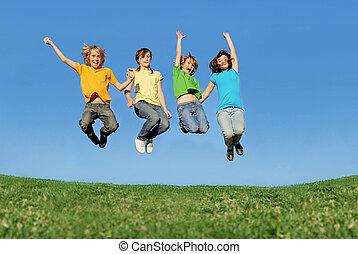nyár, egészséges, egészséges, ugrás, szabadban, gyerekek