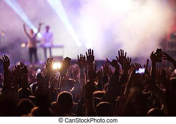 nyár, egyetértés, tolong, fesztivál, -, zene