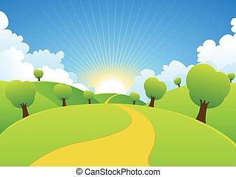 nyár, eredet, háttér, vidéki, fűszerezni, vagy