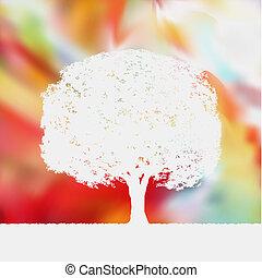 nyár, fa, eps, silhouette., háttér, 8