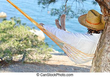 nyár, fa, sóvárog, függőágy, crimea, kalap, nap, ember