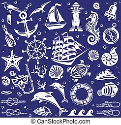 nyár, fehér, állhatatos, tenger, ikonok