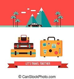 nyár, fogalom, bőrönd, utazás, szünidő, táska, lets, háttér