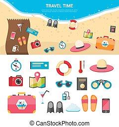 nyár, fogalom icons, utazás, szünidő, állhatatos