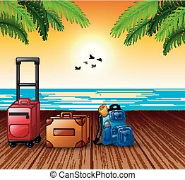 nyár, fogalom, szünidő, tengeri kikötő, bőrönd, megtöltött