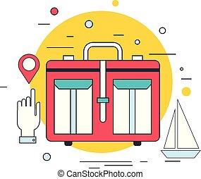 nyár, fogalom, transzparens, utazás, szünidő, tervezés, tenger, luxushajó, idegenforgalom