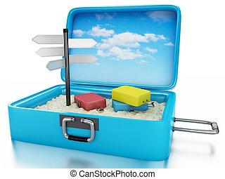 nyár, fogalom, utazás, ünnepek, suitcase., 3