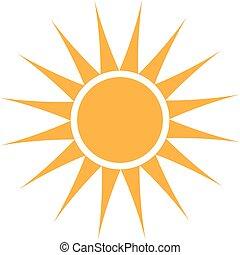 nyár, grafikus, nap, vektor, tervezés, logo.