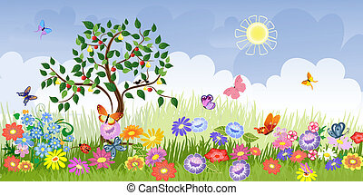 nyár gyümölcs, táj, bitófák