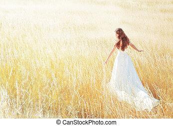 nyár, gyalogló, nő, kaszáló, napos, megható, fű, nap