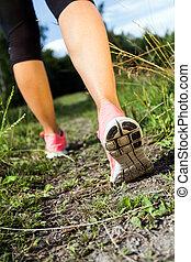 nyár, gyalogló, természet, erdő, futás, elfoglaltság, combok, vagy