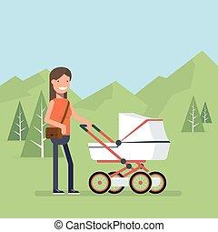 nyár, gyermek, nő, van, parkosít., fa., természet, fiatal, lakás, következő, anya, ellen, vektor, ábra, jár, stroller., háttérfüggöny, style., hegyek