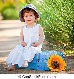 nyár, gyermek, szabadban, boldog, ülés