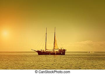 nyár, hajó, kalóz, nulla, szürkület