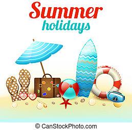 nyár holidays, háttér, poszter
