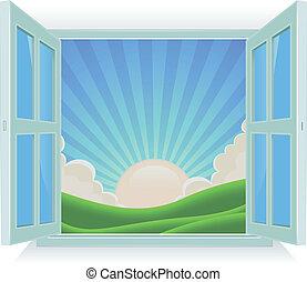 nyár, kívül, ablak, táj