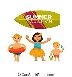 nyár, költés, poszter, három, boldogan, vektor, megüresedések, gyerekek