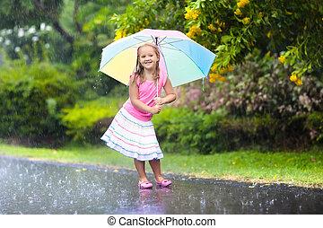 nyár, kölyök, esernyő, rain., játék