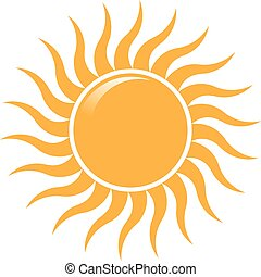 nyár, küllők, nap, lenget, vektor, tervezés, jel, logo.
