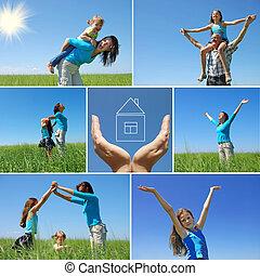 nyár, külső, család, kollázs, -, boldog