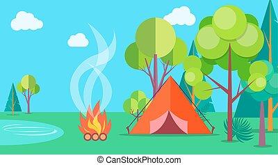 nyár, kempingezés, poszter, sablon, idő, sátor