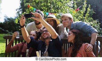 nyár, kert, selfie, fél, barátok, bevétel