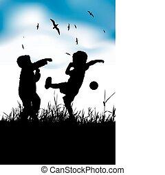 nyár, kevés, labda, fiú, mező, játék