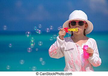 nyár, kicsi lány, szünidő, közben, gyártás, panama, imádnivaló, szappan