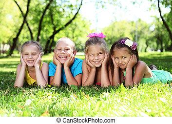 nyár, liget, játék, gyerekek