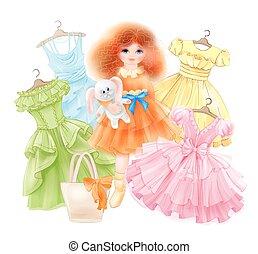 nyár, mód, állhatatos, ünnepies, nyuszi, varázslat lány, buli., hercegnő, felruház