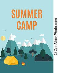 nyár, mód, kempingezés, természet, szöveg, modern, lakás, minta, háttér