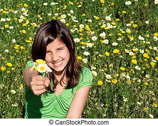 nyár, mosolygós, hatalom virág, gyermek, boldog