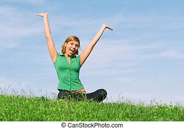 nyár, nő, egészséges, fiatal, szabadban, boldog