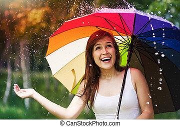 nyár, nő, esernyő, eső, közben, meglepődött