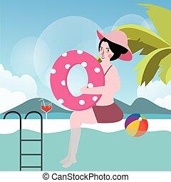 nyár, nő, szünidő, labda, pocsolya, úszás
