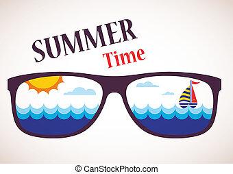 nyár, napszemüveg, óceán, tenger, csónakázik, kilátás