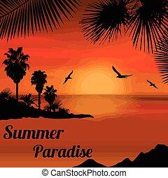nyár, paradicsom, poszter